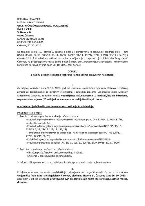 Odluka o načinu procjene-testiranja kandidata prijavljenih na natječaj za radno mjesto voditelja-ice računovodstva