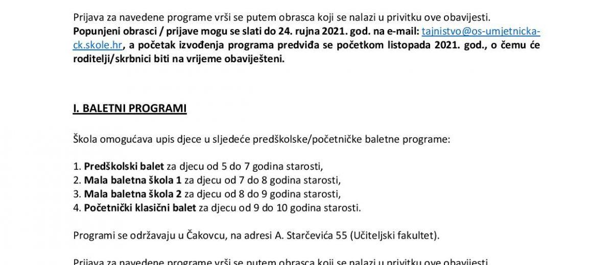 PRIJAVE ZA UPIS U PREDŠKOLSKE/POČETNIČKE GLAZBENE  I BALETNE PROGRAME